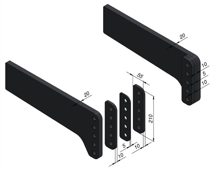 Distanzplatten zu Universalanbaulaschen t=10mm 1 Paar